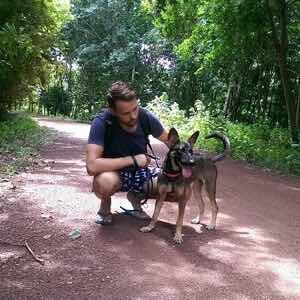 Danny with dog on Koh Lanta, Thailand.